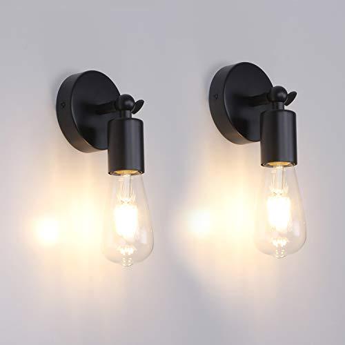 MantoLite Lámparas de pared negras Simplicity Vintage Lámpara de noche industrial E27 Edison Bulbs Aplique de pared Soporte de lámpara ajustable para sala de estar Restaurante Iluminación