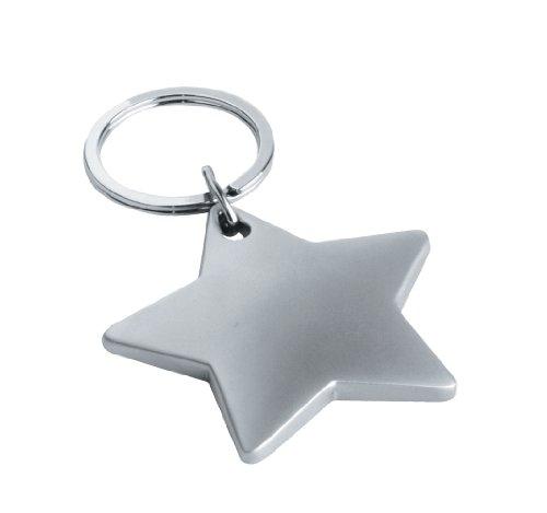 eBuy GB - Portachiavi in metallo cromato a forma di stella, in confezione regalo, adatto per incisione, colore: Argento opaco