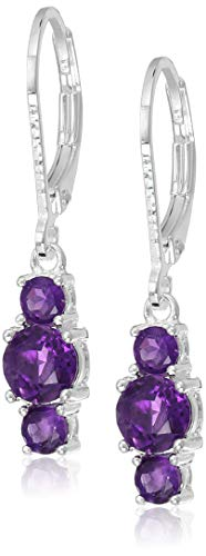 Sterling Silver Genuine African Amethyst 5mm and 3mm Three Stone February Birthstone Leverback Dangle Earrings
