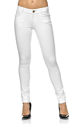 Elara Pantalons Stretch Femme Jeggings Skinny Fit Chunkyrayan Blanc 2488-1 White-36 (S)