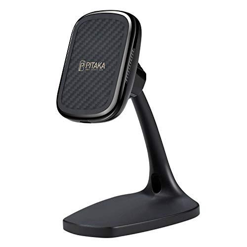 Qi ワイヤレス充電器 スマホスタンド「PITAKA」PITAKA MagEZ Case専用 マグネット式 おくだけ 携帯ホルダーQi認証 360度回転可能 アラミド繊維製 卓上 PITAKA MagEZ Mount Qi Desktop(PITAKA MagEZ Case専用)黒