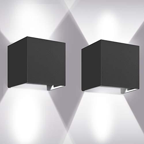 LEDMO Lampara Pared led Moderna 12W*2 Blanco 6000K 1000lm Aplique Pared Led IP65 Impermeable Interior y De Exterior Sala de estar dormitorio pasillo patio lámpara de pared Negro