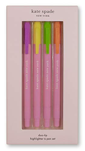 Kate Spade New York Highlighter/Pen Duo Set of 4, Double Ended Pen with Colored Highlighter Tip and Black Ink Tip, Assorted