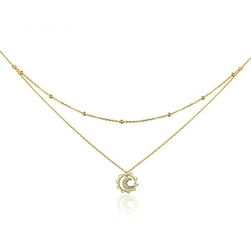 AYJMA Collares Gargantilla de Doble Capa con Forma de Luna y Sol de Plata de Ley 925 Vintage para Mujer, fabricación de Joyas de Plata