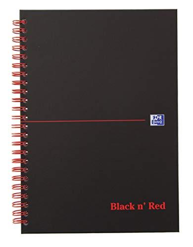 Oxford 400047652 Spiralbuch Black n\' Red A5 kariert mattes Hardcover 70 Blatt schwarz/rot Notizblock Schreibblock Collegeblock