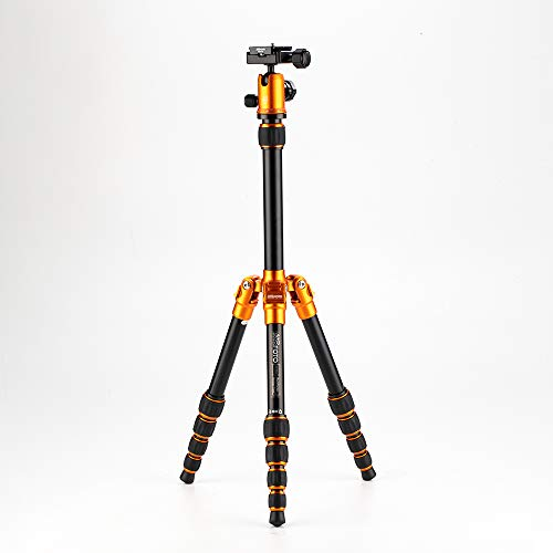 "MeFOTO BackPacker Classic Lightweight 51.2"" Aluminum Travel Tripod Kit w/Case, Twist Locks, Double Action Ballhead w/Arca Swiss Plate for Mirrorless/DSLR Sony Nikon Canon Fuji - Orange (A0350Q0C)"