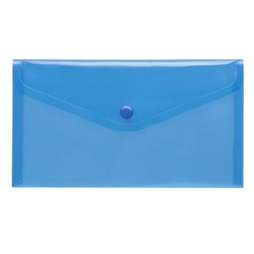 PP-Transparent-Umschlag, LangDIN, Druckknopf, Transparent, blau, 10 Stück