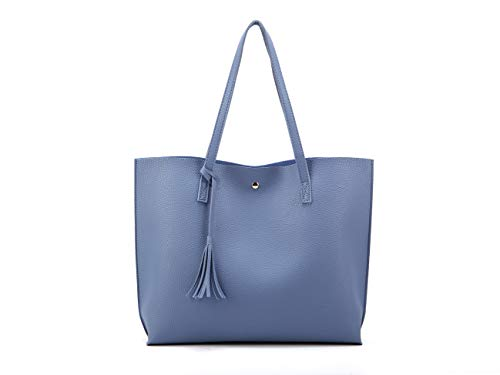 Nodykka Women Tote Bags Top Handle Handbags PU Faux Leather Tassel Shoulder Purse