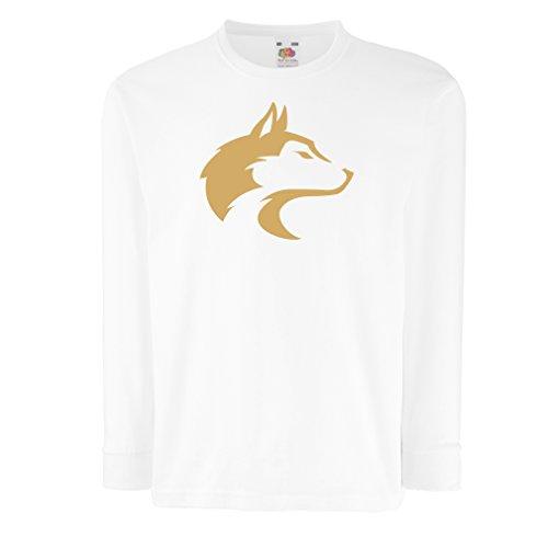 Camisetas de Manga Larga para Niño la Llamada del Lobo Salvaje - gráfico Genial con sentimiento Espiritual (14-15 Years Blanco Oro)