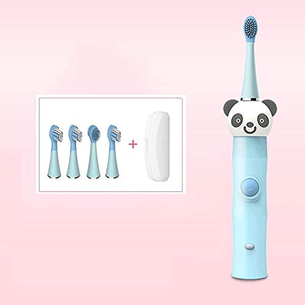 極めて重要なスツールサージLMCYP 3-12歳に適した子供用充電式電動歯ブラシ、ソニック歯ブラシwith4交換可能なブラシヘッド、ワンボタン制御、低ノイズ、誘導充電 (色 : 青)