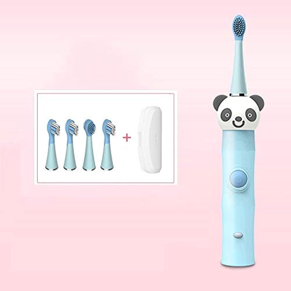 発掘する村滞在LMCYP 3-12歳に適した子供用充電式電動歯ブラシ、ソニック歯ブラシwith4交換可能なブラシヘッド、ワンボタン制御、低ノイズ、誘導充電 (色 : 青)