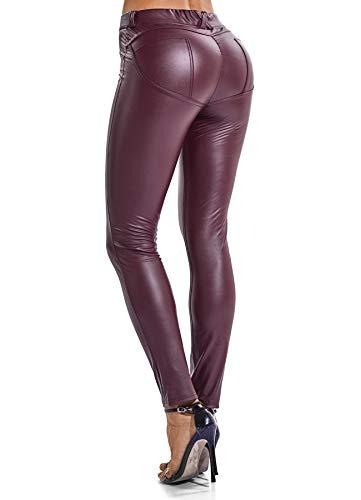 FITTOO Modische Damen Faux PU Leder Leggins Hohe Taille Hüfthoch Strumpfhose Hose, Rot, XL