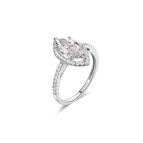 Beydodo Hochzeit Ringe Gold 18 K 6-Steg-Krappenfassung Marquise Moissanit Verlobungsringe für Damen 61 (19.4)