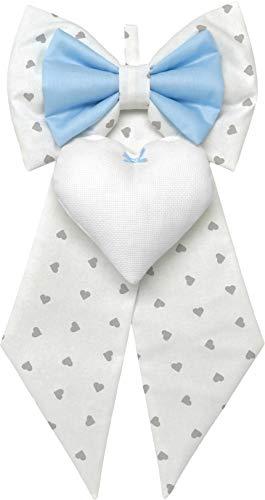 fiocco nascita azzurro bianco con cuori grigio bimbo da ricamare a punto croce su cuore in tela aida - fiocco nascita fai da te personalizzato (Azzurro bianco cuori grigi, Standard 23x45cm)