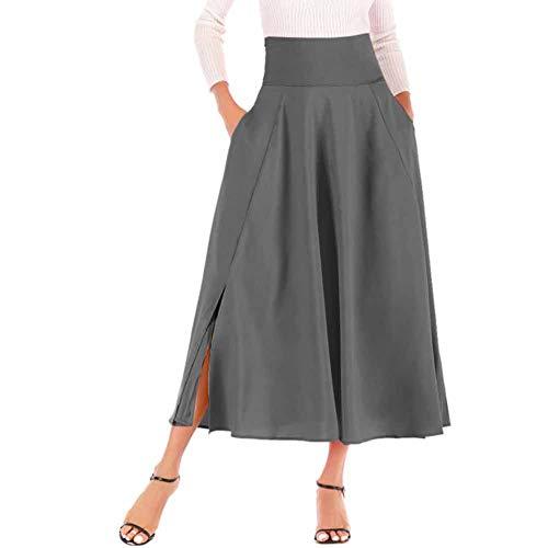 Damen Plisserock Lang Sommer Hoch Taille Rock Retro A Linie Maxirock mit Falten Gürtel Seitentasche Dunkelgrau S