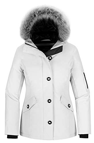 Wantdo Women's Waterproof Outdoor Winter Coat Warm Ski Snow Jacket White XL