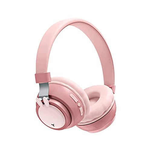 Auriculares de Juegos inalámbricos sobre Auriculares para la Oreja Bluetooth 5.0 Mic Incorporado Auriculares Ajustables 30 Horas Tiempo de Juego con Auriculares en Modo cableado (Color : Pink)