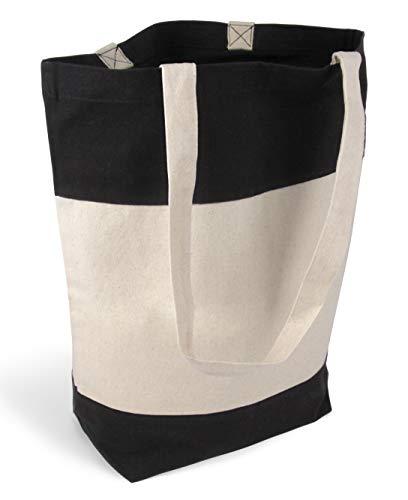 stylische geräumige Tragetasche Baumwolltasche Stofftasche Shopper Handtasche mit großem Boden 1 Tasche