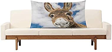InterestPrint Fluffy Donkey Funny Animal Decor Pillow Cover Case King Size 20x36 Inch, Decorative Rectangle Zippered Pillowca