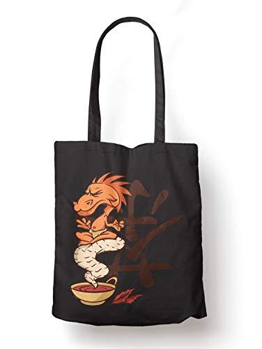 BLAK TEE Dragon Tea Spirit Organic Cotton Reusable Shopping Bag Black
