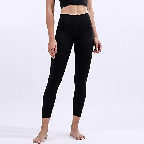 Bossoshe Training Estiramiento Yoga y Pilates-Pantalones de Yoga de Abdomen de Alta Cintura, Tocando Pantalones de Aptitud Suave-Negro_Metro