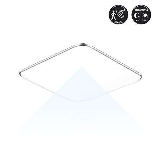 Fscm 24W LED Deckenleuchte Lampe mit Sensor Bewegungsmelder Modern Deckenlampe, Kaltweiß 6000-6500K Deckenleuchten für Flur Wohnzimmer Schlafzimmer Küche PVC Abdeckung Alu Rahmen Platz 38x38x10cm IP44