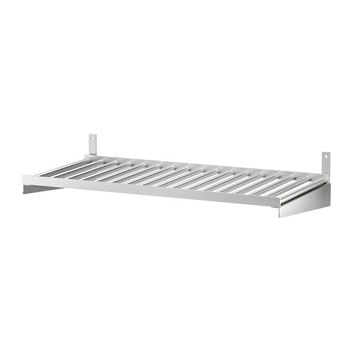 Ikea' Estante de Montaje en Pared de Cocina | Acero Inoxidable, Paquete de 23 5/8 con paño de Limpieza de feltectores