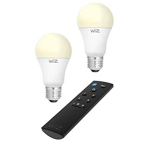 REV 09200260120 WiZ - Kit de inicio WLAN (2 bombillas LED, 1 mando a distancia o aplicación, 810 lm, 2700 K, 25.000 horas), color blanco