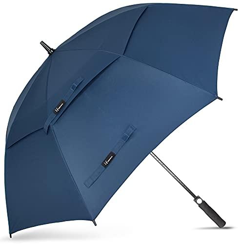 NINEMAX Regenschirm Groß, Regenschirm Sturmfest, Doppelt Überdachung Belüftet, Golf Stockschirm Automatik Auf, Regenschirm XXL Für 2-3 Personen,68 Inch/ 175 CM, Königsblau