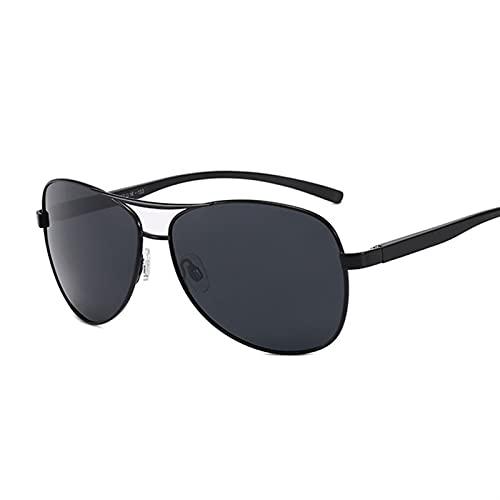 PPCLU Vintage Metal polarizado Hombres Gafas de Sol Lujo Mujer Negro Gafas de Sol Sombras de Moda diseñador Masculino piloto (Lenses Color : Black Gray)