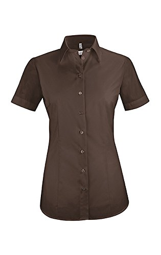 GREIFF Damen-Bluse Basic, Regular Fit, Stretch, Easy-Care, 6516, braun, Größe 44