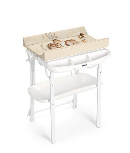 CAM Bade-Wickelkombination AQUA SPA | Antikipp-Sicherheitssystem | Babybadewanne inkl. Babydusche | Wickelkombination | Made in Italy | (Bärchen)