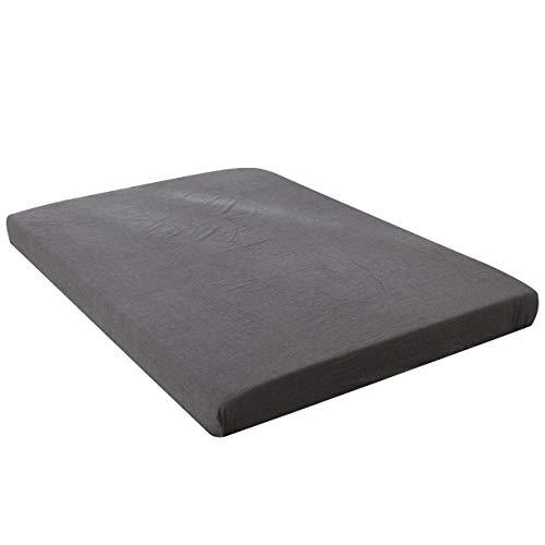 【ボックスシーツ クイーン】オーガニックコットン ボックスシーツ マチ30�p 洗いざらしの綿100% 洗い替え ベッドシーツ 洋式フラットシーツ ベッドBOXシーツ 防ダニ ダークグレー