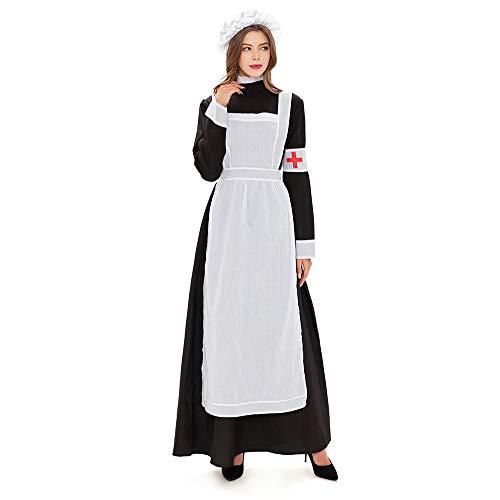 Xwenx Vestido de mujer para cosplay, disfraz de Halloween, disfraz de cosplay, disfraz de anime cosplay, disfraz de granja pastoral, ropa de criada, M