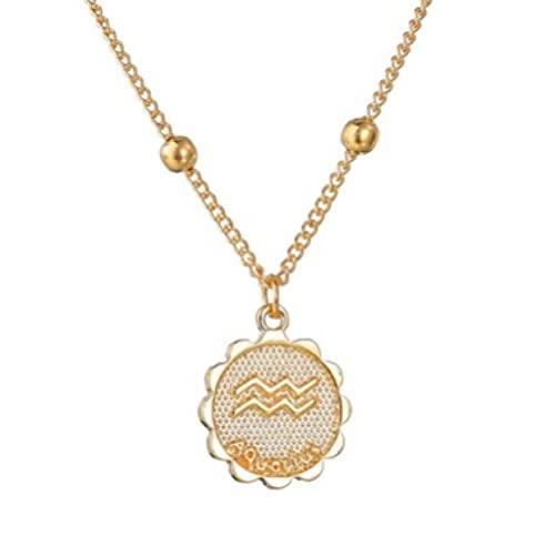 Collar Con Colgantes De Monedas De 12 Constelaciones, Collar Con Signo Del Zodiaco Dorado, Joyería Para Mujer, Collar De Clavícula Con Doce Horóscopo 5