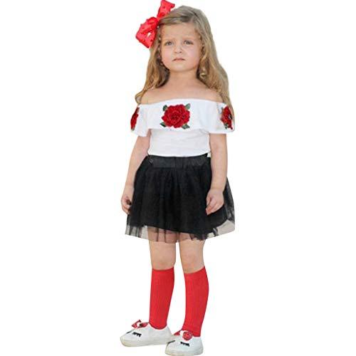 Julhold kleine kinderen baby meisjes zoete vrije tijd comfortabel schouder roos borduurwerk tops + solide tule rok outfits zomer