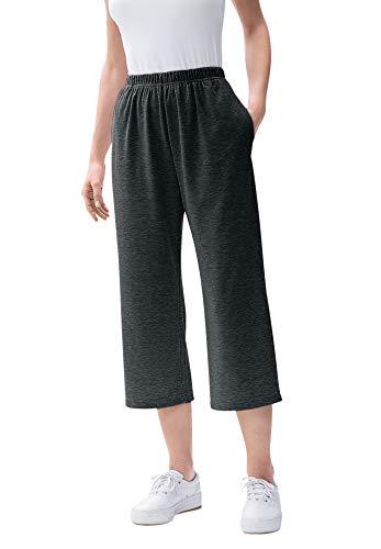 Woman Within Women's Plus Size Petite 7-Day Knit Capri - 2X, Heather Charcoal