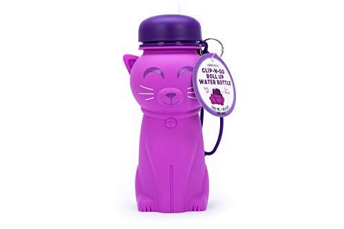 Tri-Coastal Design - Clip 'N Go Botella de Agua Plegable para niños - Contenedor de Silicona con Tapa de Rosca, asa y Pajita (Cat)