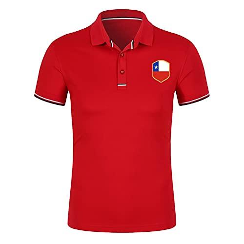 Polos con Estampado de Chile para Mujer Camiseta Deportiva de fútbol Manga Corta de algodón Transpirable Camiseta de tamaño Adulto, M-XXL (Color : Red, Size : Adult-Medium)