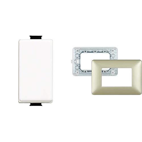 BTicino SAM5003F Matix FP Deviatore, 1 P, 16 A + SAM4803MGL Matix Kit, Supporto e Placca a 3 Moduli, Gold, Oro