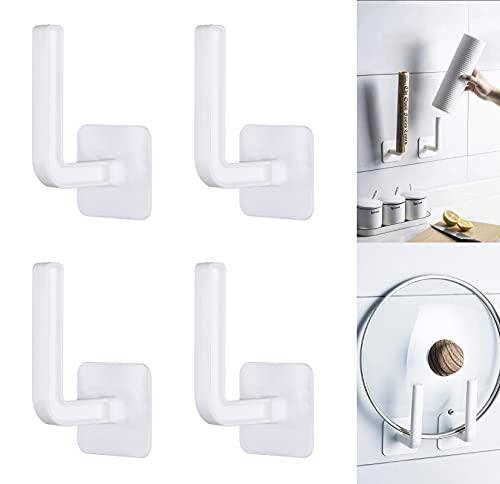 4 Stück Toilettenpapierhalter Wandmontierter Papierrollenhalter ohne Bohren Küchenrollenhalter Selbstklebend Papierhalter für Badezimmer Kücke Weiß