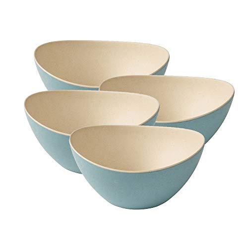 BIOZOYG 4 Bunte Müslischalen aus Bambus I Snackschalen Dipschalen Salatschalen wiederverwendbar, umweltfreundlich, BPA frei I modernes Schüsselset oval 14 x 15,5 cm Natur weiß blau