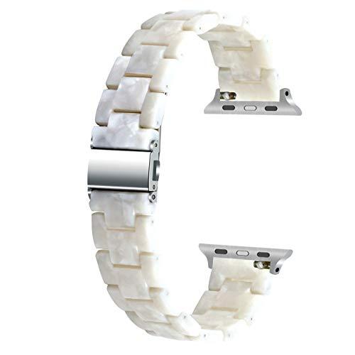 Juntan Compatible para Apple Watch 40 mm 38 mm Smart Watch Correa de repuesto para iWatch Serie 6 5 4 3 2 1 SE Correa de resina blanca perla para mujeres y hombres