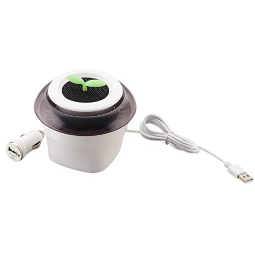 JQ-001 Anion Purificador de aire para coche Purificador de aire USB portátil Purificador de aire en forma de maceta ionizador de coche para uso doméstico en la oficina (púrpura y blanco)