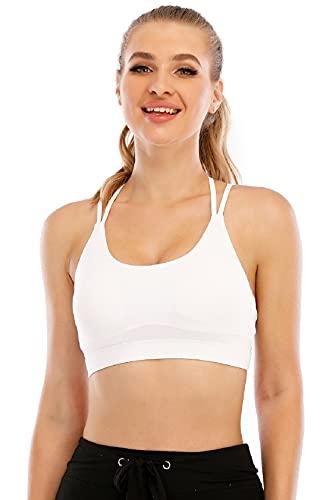 Tuopuda - Sujetador deportivo para mujer, para yoga, espalda cruzada blanco XL