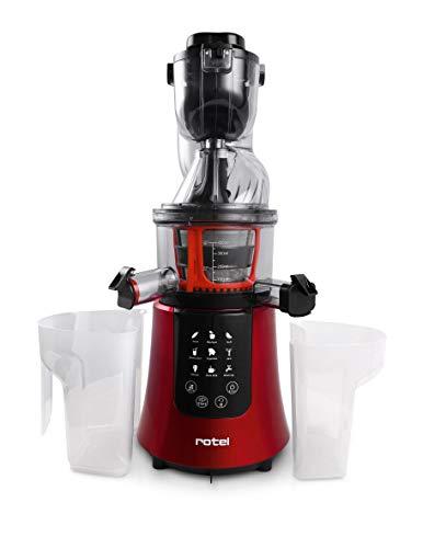 Rotel Slow Juicer Entsafter für kaltes Pressen mit Sorbet-Einsatz und Gemüse-Aufsatz 200W U4292CH (Rot)