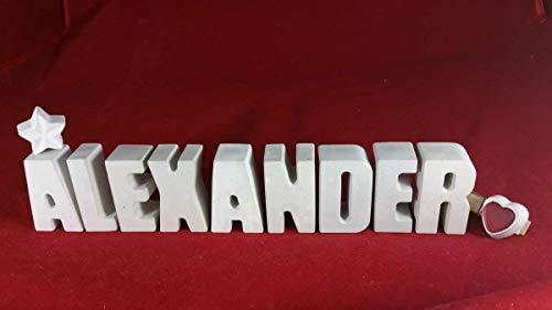 Beton, Steinguss Buchstaben 3D Deko Namen ALEXANDER mit Stern und Herzklammer als Geschenk verpackt! Ein ausgefallenes Geschenk zur Geburt, Taufe, Geburtstag, Namenstag oder auch zu Weihnachten!