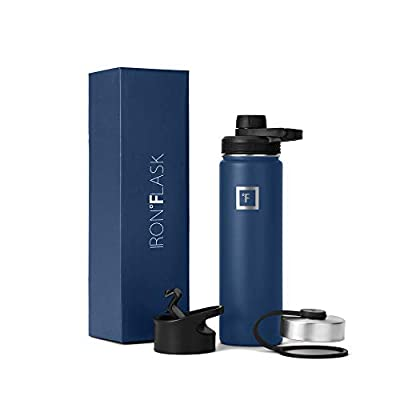 IRON °FLASK Sports Water Bottle - 14oz,18oz,22oz,32oz,40oz, or 64oz, 3 Lids (Spout Lid), Vacuum Insulated Stainless Steel, Hot, Modern, Simple Thermo Mug, Hydro Metal Canteen (22 Oz, Twilight Blue)