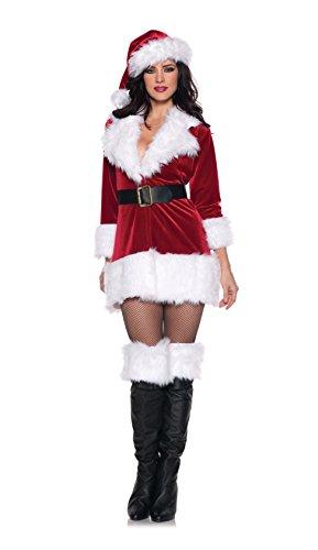 Women's Christmas Costumes - Secret Santa, Red/White/Black, Medium