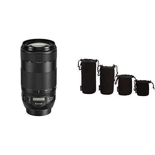 Canon EF70-300mmF/4-5.6isII USM Objektiv (67 mm Filtergewinde) schwarz & AmazonBasics - wasserdichte Schutzbeutel für Kamerobjektiv